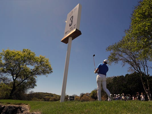 Jordan Spieth watches his shot from the third tee during a practice round at the Dell Technologies Match Play golf tournament at the Austin Country Club, Tuesday, March 20, 2018, in Austin, Texas. (AP Photo/Eric Gay)