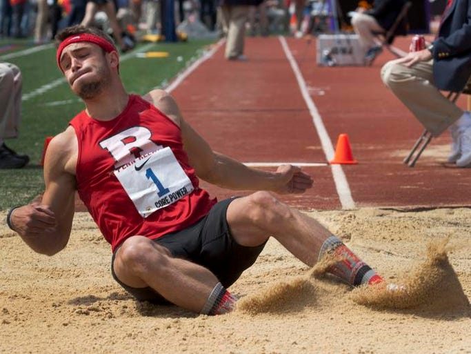 Corey Crawford of Rutgers in long jump on Friday at Penn Relays in Philadelphia Pa on April 25, 2014.
