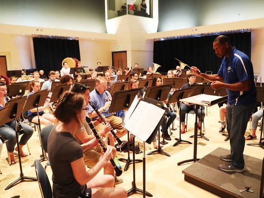 The Florida Gulf Coast University wind orchestra practices under Troy Jones, the assistant director of bands, on Friday 6/15/2018. The band is playing at the Kennedy Center in Washington, D.C.
