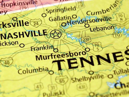 Nashville area on a map