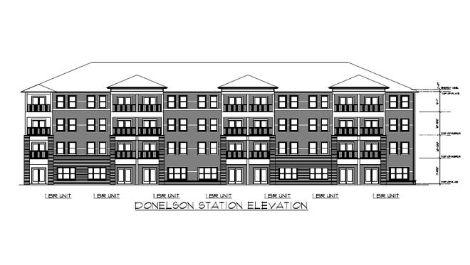 Preliminary rendering of the planned Donelson Station apartments near the Music City Start station in Donelson.