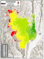 Red areas indicate where the 416 Fire has spread recently.
