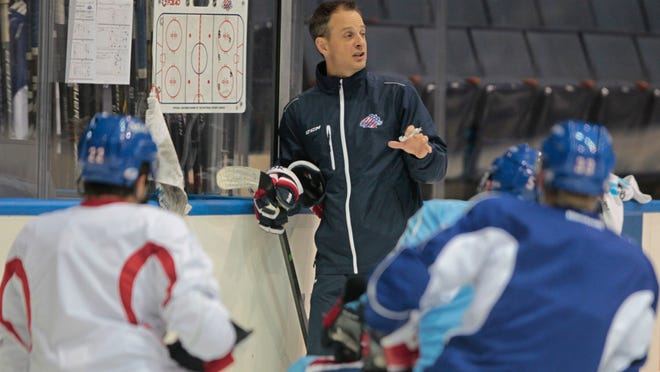 Rochester Americans head coach Chadd Cassidy talks to his team during a recent practice. Cassidy said he likes the concept of the American Hockey League's new overtime format.
