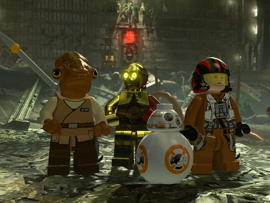 Poe Dameron (far right, voiced by Oscar Isaac) takes