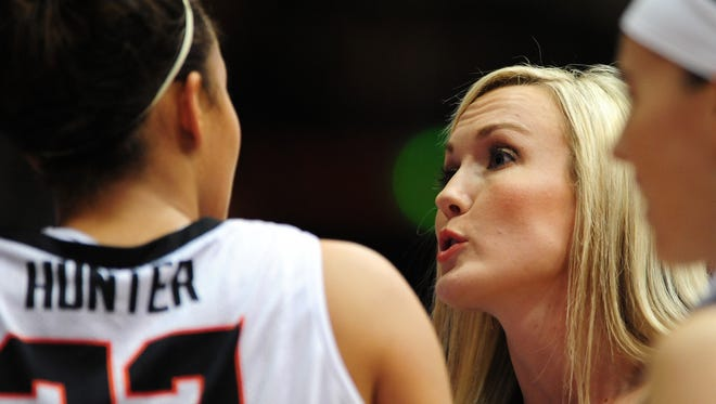 Mandy Close (right) spent the past three years as an assistant basketball coach for the OSU women's basketball program.