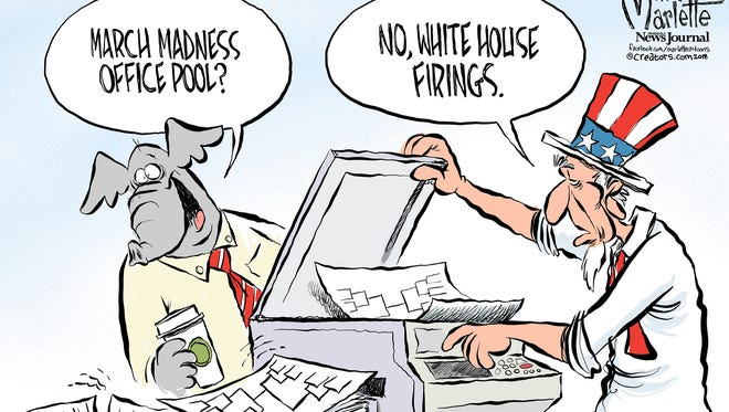 Trump firings and March Madness commentary by Andy Marlette