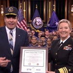 """Chief of Navy Reserve Vice Adm. Robin Braun appeared on """"The Tonight Show"""" on the Reserve's 100th anniversary to give the enlistment oath to 50 recruits."""