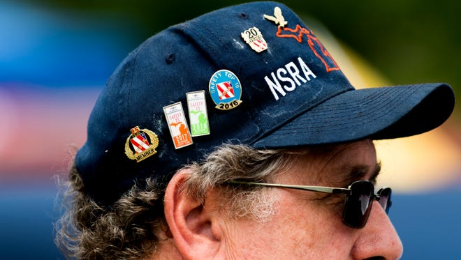 A visitors wears a decorated NSRA hat at the 44th annual Street Rod Nationals South at Chilhowee Park in Knoxville, Tennessee on Friday, May 4, 2018.
