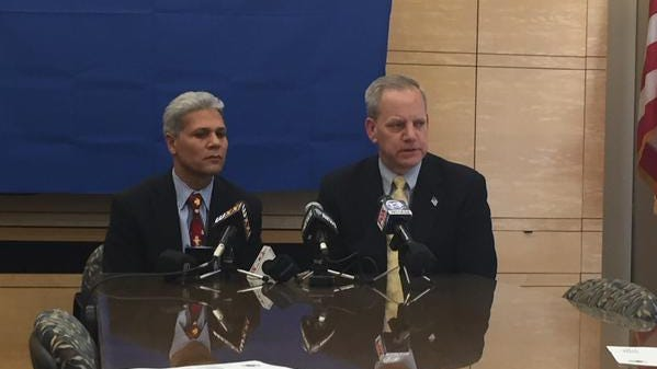 City Schools Superintendent Bolgen Vargas, left, and RTS CEO Bill Carpenter, at Thursday's news conference announcing a deal on summer school transportation.