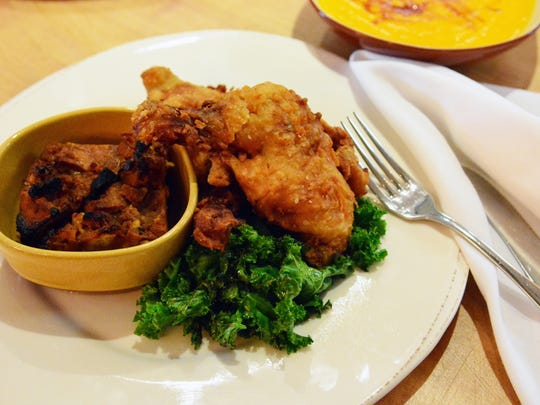 Organic fried chicken with cornbread pudding at Graze