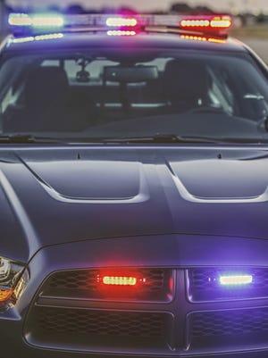 Police car with lights flashing