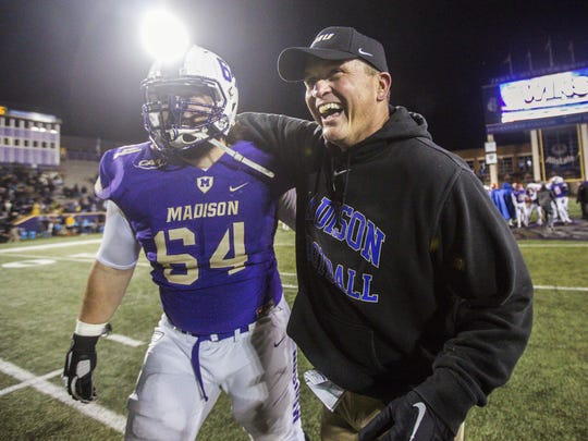 Mike Houston won a national championship with James Madison University in 2016. JMU announced Sunday that Houston was leaving for another coaching job.