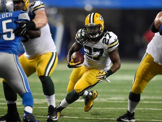 Green Bay Packers running back Eddie Lacy (27) looks
