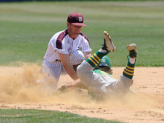 De Leon shortstop Kevin Yeager (8) puts the tag down