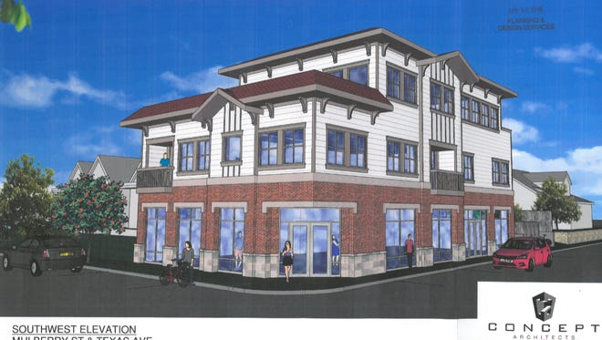Katy Ashford LLC has submitted plans to the city to build a 3-story mixed use development at the corner of Mulberry St. and Texas Avenue.