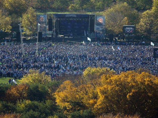 Fans gather at Grant Park for a rally honoring the World Series champion Chicago Cubs last Friday.