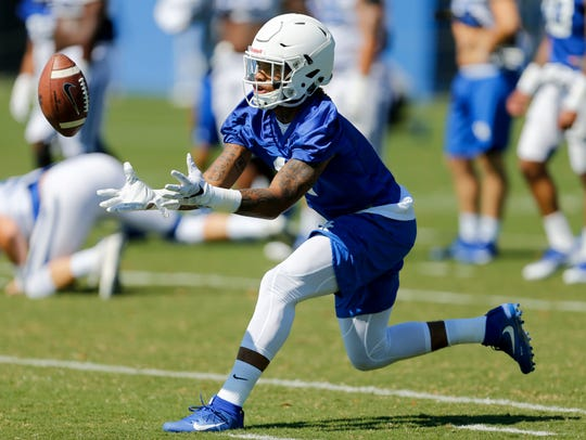 UK wide receiver Lynn Bowden takes part in his second
