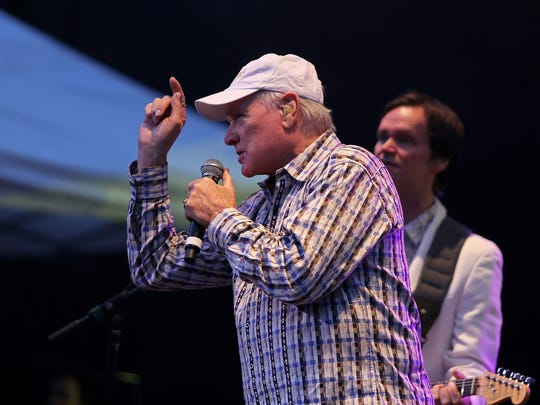 Mike Love and Scott Totten of The Beach Boys perform at Tuacahn Amphitheatre in 2013.