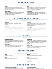 The menu at Rising Tide Tap & Table includes a section