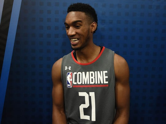 Terrance Ferguson speaks to reporters during the NBA