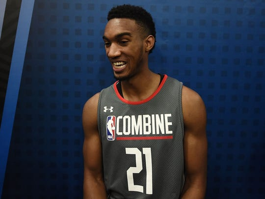 Terrance Ferguson speaks to reporters during the NBA draft combine at Quest MultiSport Complex on May 12, 2017 in Chicago.