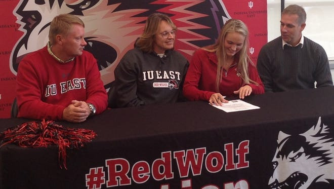 Richmond High School graduate Jordan Prim became the first signee for IU East women's soccer on Wednesday. Prim, second from right, is joined by, left, parents Chuck and Michele McGuire and IU East coach Shane Meridith.