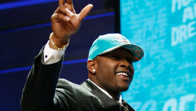 Laremy Tunsil was taken by the Miami Dolphins with the 13th pick in the NFL draft.