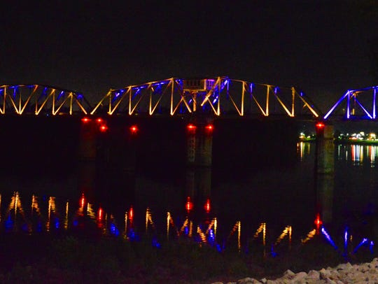 The lights on the RJ Corman Bridge in Clarksville are