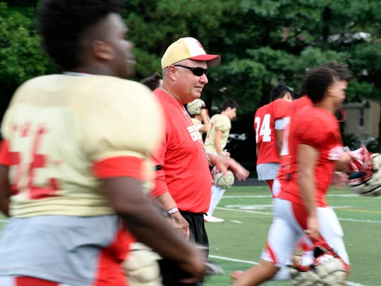 Bergen Catholic assistant coach Greg Toal on the field