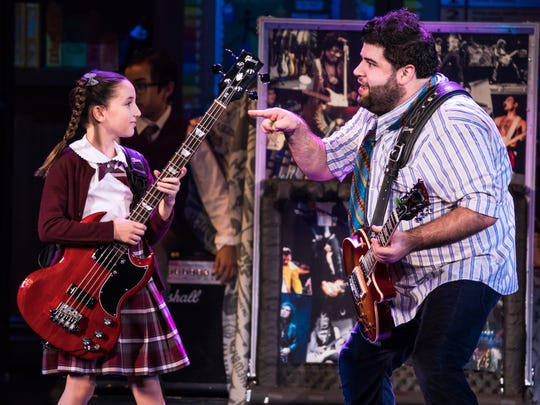 """Theodora Silverman and Rob Colletti in the national tour of """"School of Rock."""""""