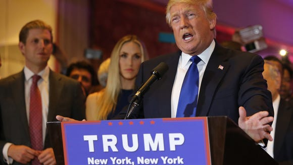 Republican Donald Trump addresses supporters in New York City after winning the New York GOP primary.