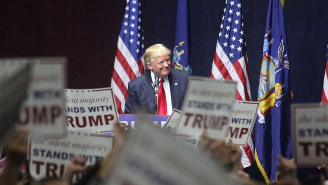 Republican presidential candidate Donald J. Trump  at a rally in Grumman Studios on Long Island, Wednesday.
