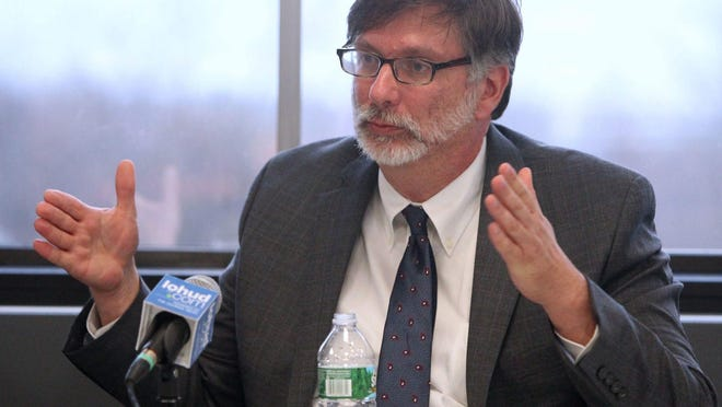 Robert Megna, executive director of the New York State Thruway Authority meets the the editorial board at The Journal News in White Plains Nov. 10, 2015.