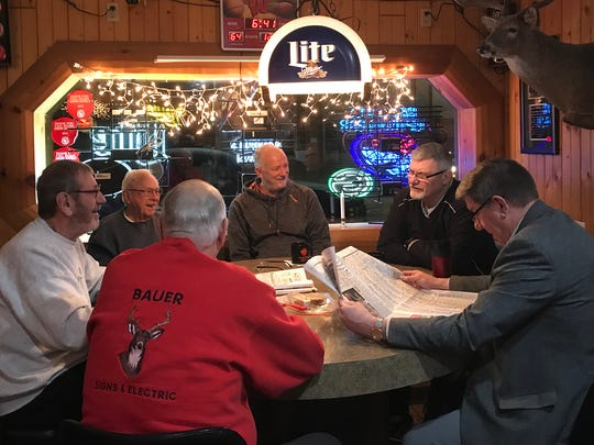 The early morning coffee crowd at Randall's Uptown Tavern in Mauston.  From left to right: Larry Purvis, Harlow Gierhart, Phillip Bauer (backed turned), Christopher Swan, Dan May, Paul Schaller.