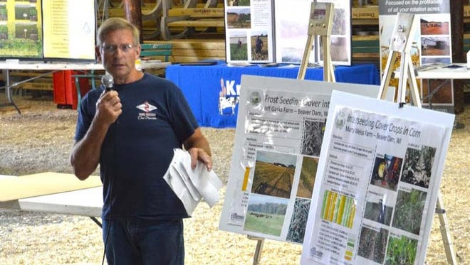 Beaver Dam producer Marty Weiss shares information on how he interseeds cover crops into 12 inch corn.