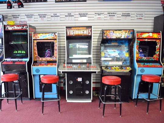 A sampling of arcade cabinets available for play at