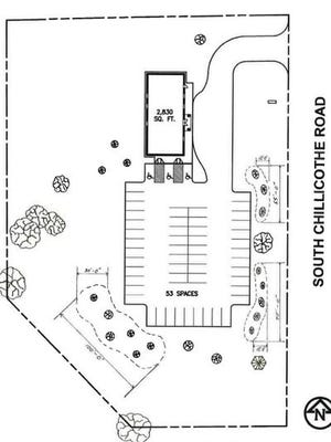 This sketch shows the proposed layout of the Jehovah Witnesses Kingdom Hall property south of Mantua Grain & Supply on Route 43, with the new building to the north and parking to the south.