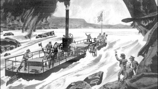 """Illustration of Iron Steamboat Codorus tackling Nanticoke Falls, from the article """"America's first iron ship,"""" by Alexander C. Brown,in Steelways issue of Sept./Oct., 1966."""