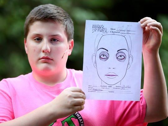 "Harry Logan, portraying Pugsley in Pentacle Theatre's  ""The Addams Family,"" holds his character's makeup template designed by Isaac Joyce-Shaw."