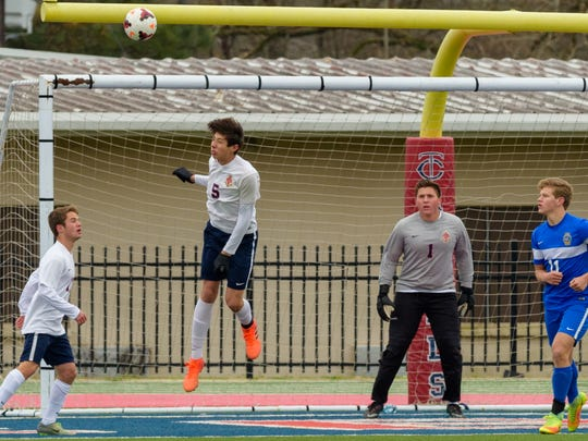 Owen Melancon's header blocks a goal as Teurlings Catholic