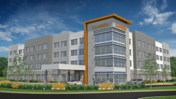 A rendering of a planned Cambria Hotel on Carolina