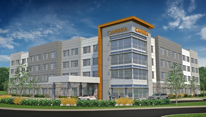 A rendering of a planned Cambria Hotel on Carolina Point Parkway in Greenville.