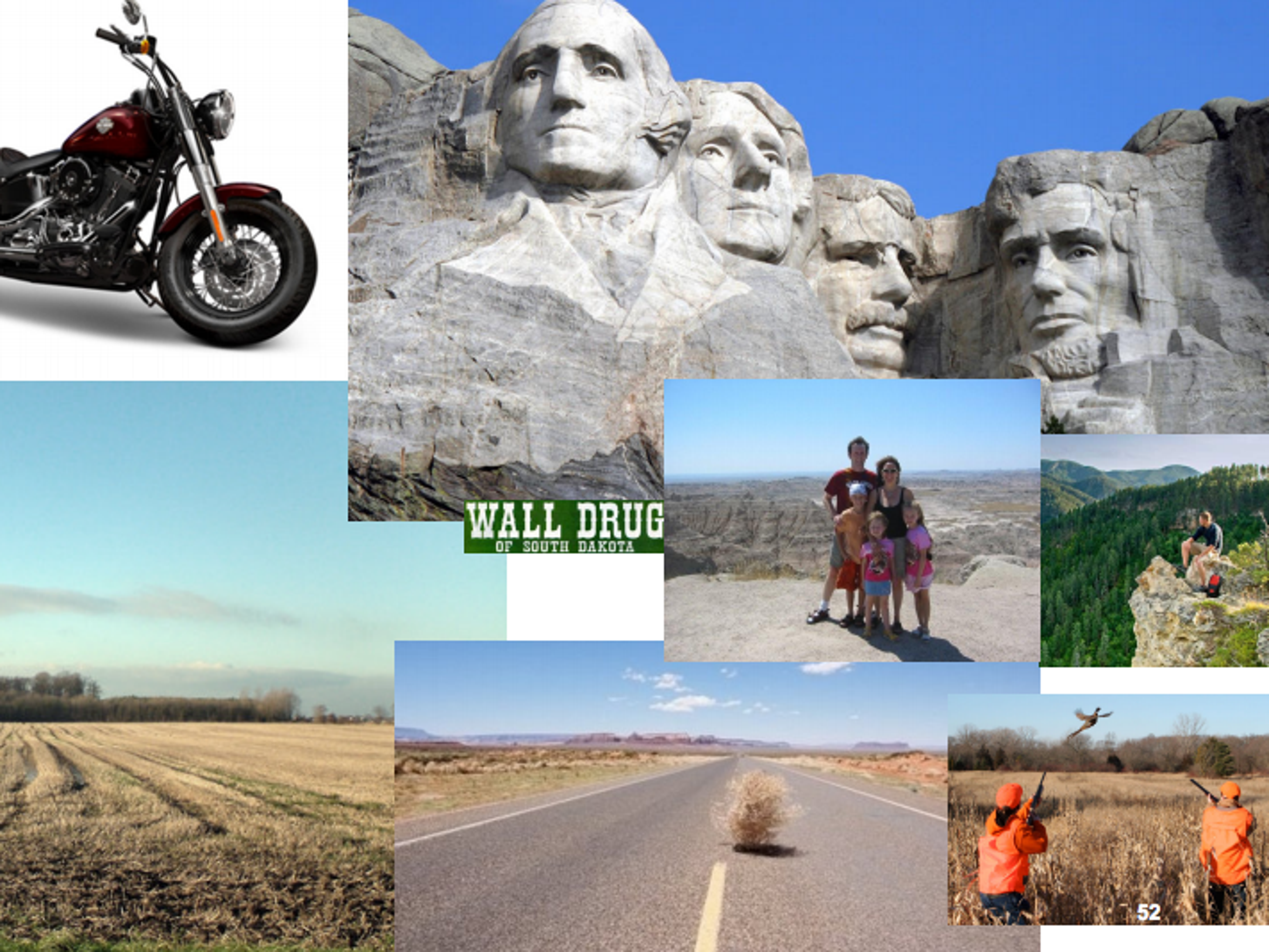 A collage of what focus group respondents thought of South Dakota.