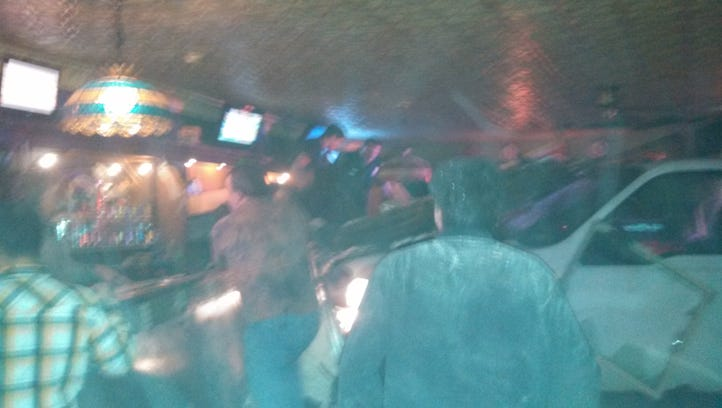 A photo from inside the bar as the truck came in.