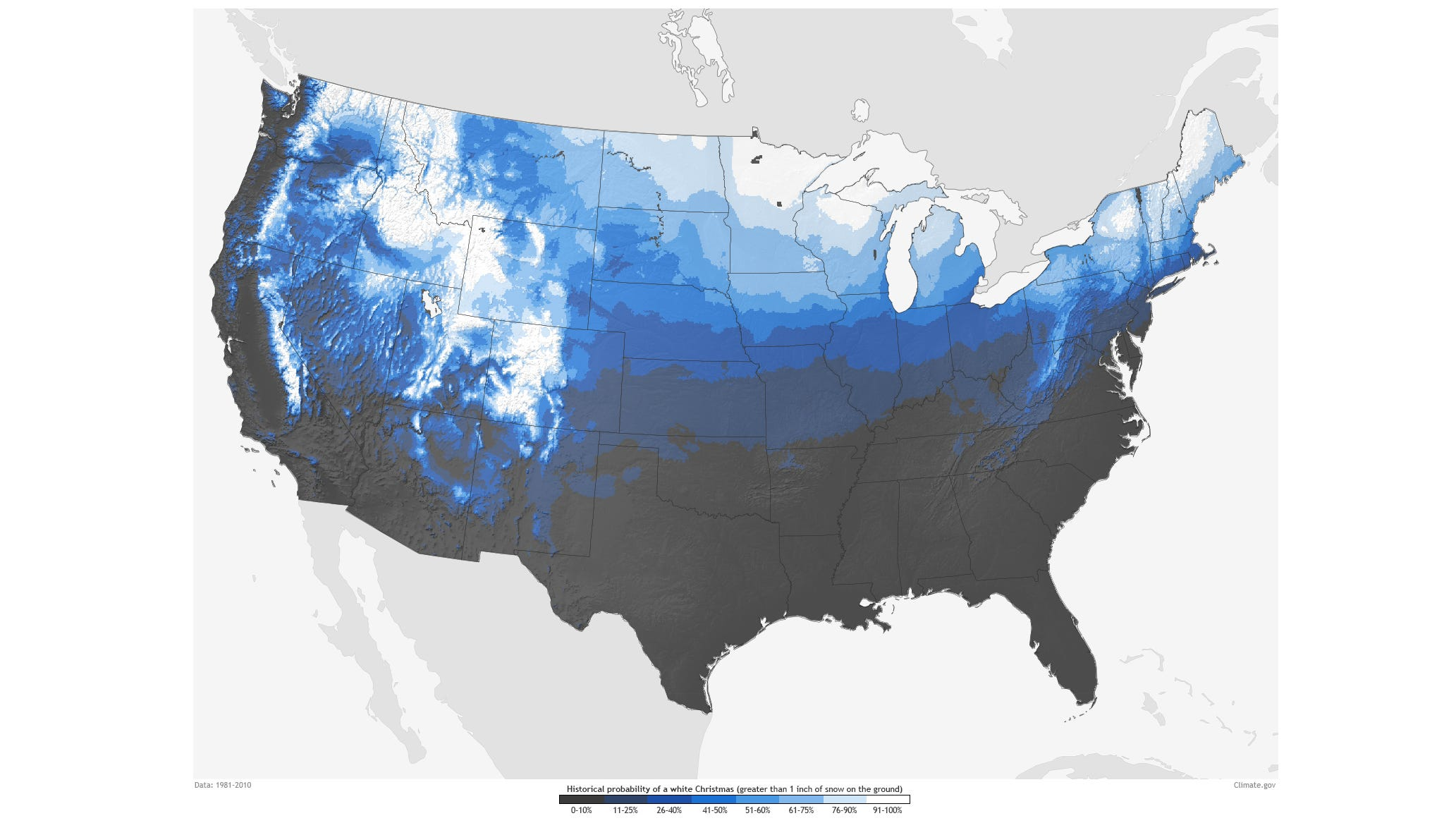 Hoping for a white Christmas? Here are your chances.