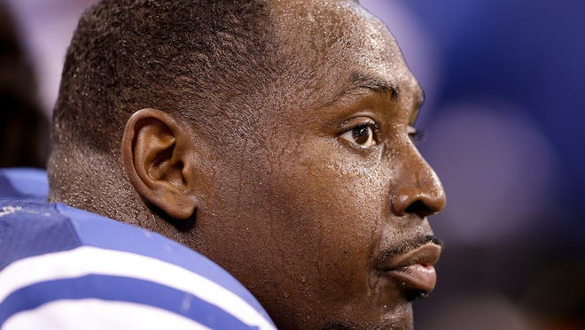 Indianapolis Colts defensive end Arthur Jones (97) sits dejected on the bench in the second half of their game Sunday, October 30, 2016, afternoon at Lucas Oil Stadium. The Colts lost to the Chiefs 30-14.