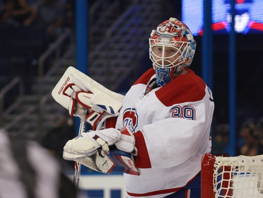 March 31: Montreal Canadiens goalie Mike Condon made