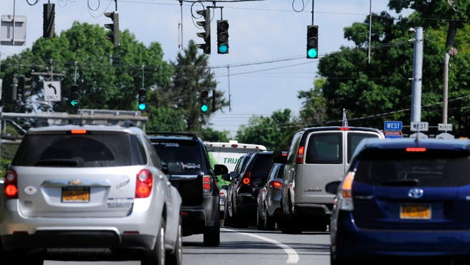 Vehicles wait for the light to turn green near the intersection of Route 9D and Interstate 84 in the Town of Fishkill close to Beacon.