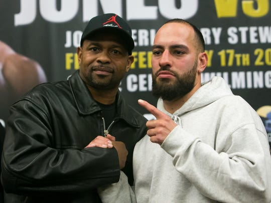 "Local boxer Joe Tiberi (right) will be the undercard for boxing legend Roy Jones Jr. (left), who will square off against bareknuckle legend Bobby Gunn in a ""Skill versus Will"" fight for the vacant WBF world cruiserweight title at the Chase Center on the Riverfront in Wilmington on Feb. 17."
