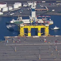 The Polar Pioneer docked at Terminal 5 at Seattle's Harbor Island late Thursday afternoon.